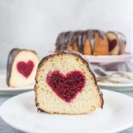 This hidden heart Valentine's Day cake is a fun and impressive dessert to serve the people you love--just don't tell the how easy it was to make! It would also be an adorable gender-reveal cake with pink or blue. recipe and how-to via itsybitsykitchen.com #cake #bundtcake #valentinesday #genderreveal