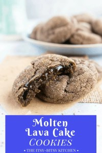 long pin image for Pinterest of three cookies with a bowl of more cookies in the background