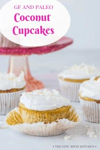 Pinterest image for gluten-free coconut cupcakes with text overlay