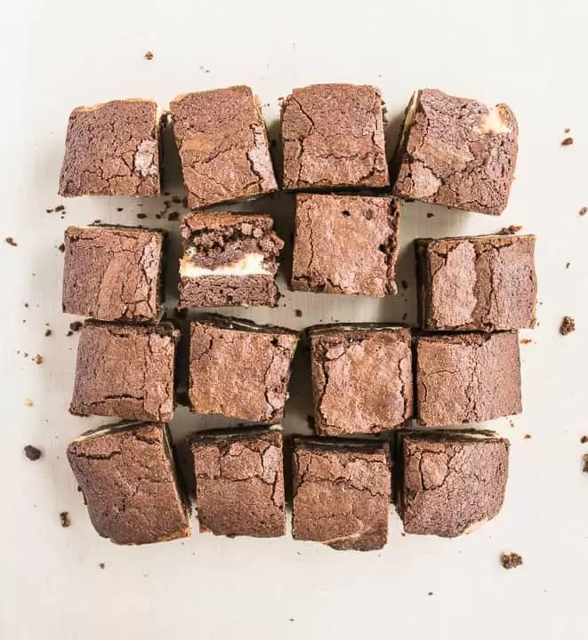 overhead shot of peanut butter cream cheese brownies after they've been sliced