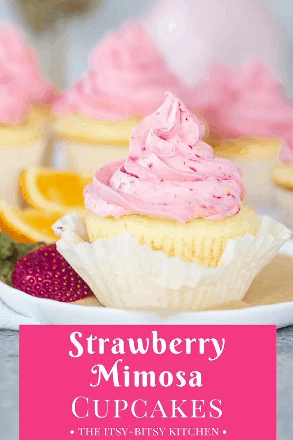 Pinterest image for champagne cupcakes with strawberry-orange buttercream (strawberry mimosa cupcakes) with text overlay