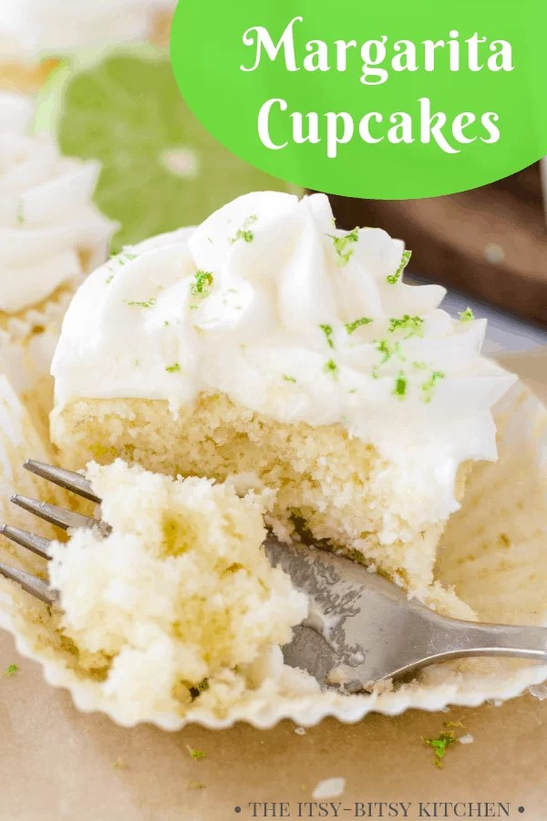 pinterest image for margarita cupcakes with text overlay