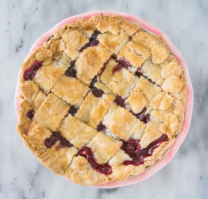 overhead shot of bumbleberry pie after it's been baked