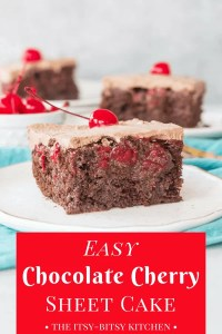 Pinterest image for chocolate cherry cake with text overlay