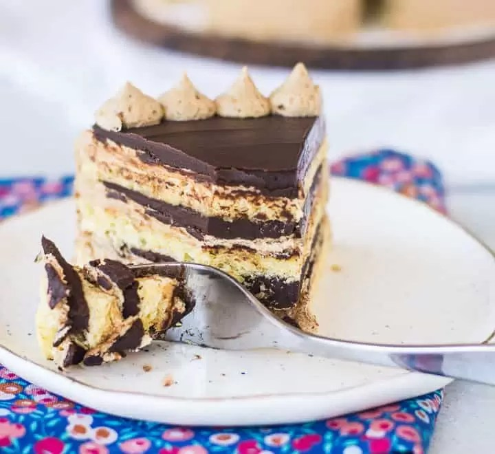 slice of opera cake on a plate with a fork taking a bite out of it