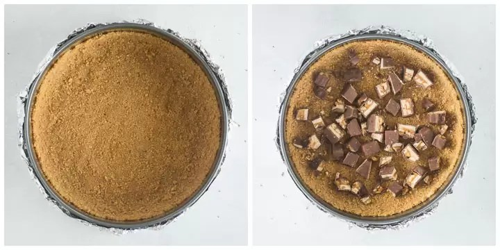 how to make the crust for white chocolate snickers cheesecake step by step