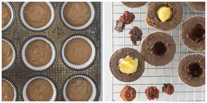 how to fill chocolate banana cupcakes