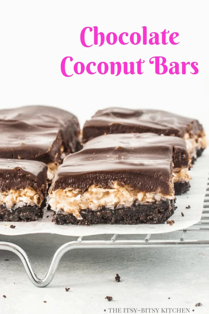 pinterest image for chocolate coconut bars with text overlay