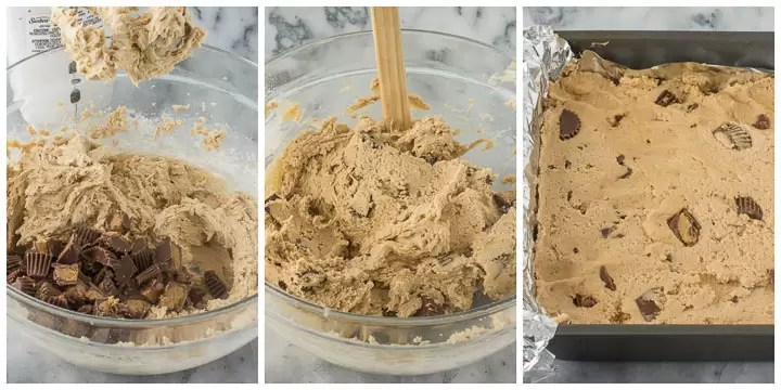 photo collage for how to make peanut butter cookie bars part 2