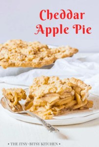 Pinterest image for cheddar apple pie with text