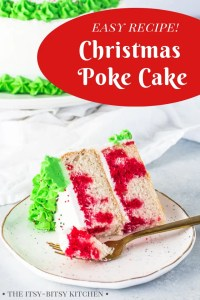 pin image for Christmas poke cake