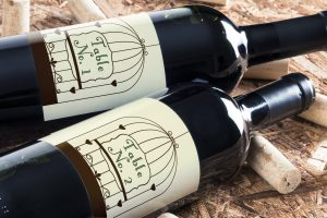 personalised wine label for weddings - Table number birdcage design