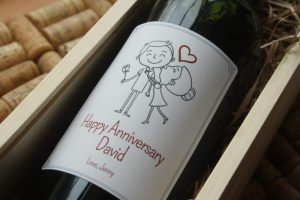 Personalised wine label for Anniversaries - Cartoon