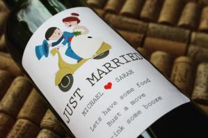 personalised wine label for weddings - Bride and groom cartoon design