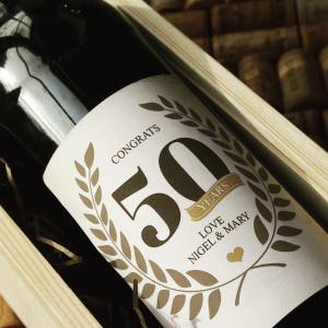 personalised wine label for birthdays - fifty years 50