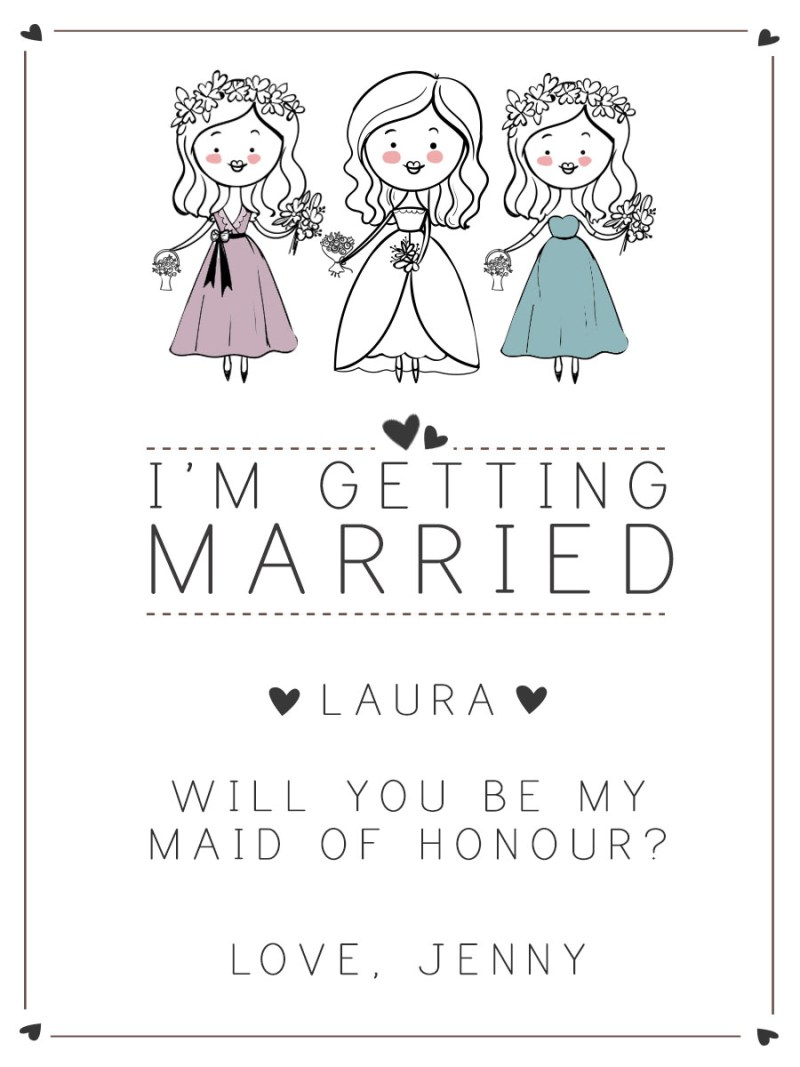 Personalised wine label for Weddings - Cute Cartoon