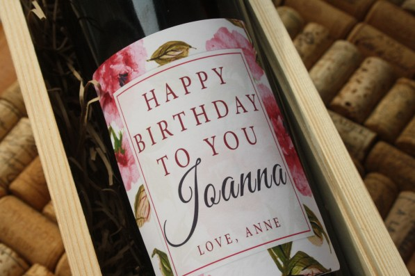 Floral personalised wine gifts