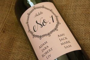 personalised wine label for weddings - seating plan lace design