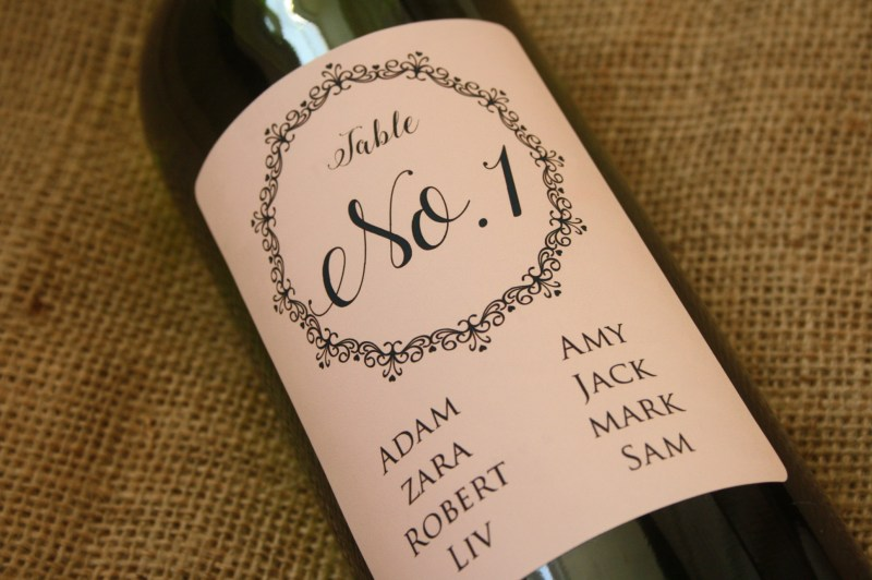 lace personalised wine seating plan