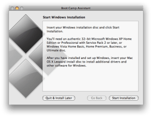 BootCamp Windows 7 Installation
