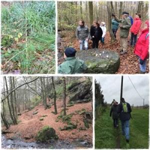La promenade nous menait dans le bois des Rocs où trône la Table des sorcières. Les explications étaient données par notre guide Bernard.