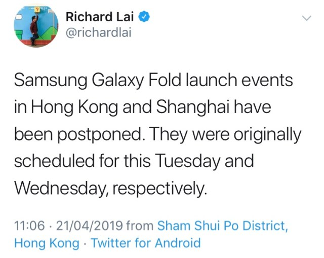 Samsung's reported delay of two Galaxy Fold launch events