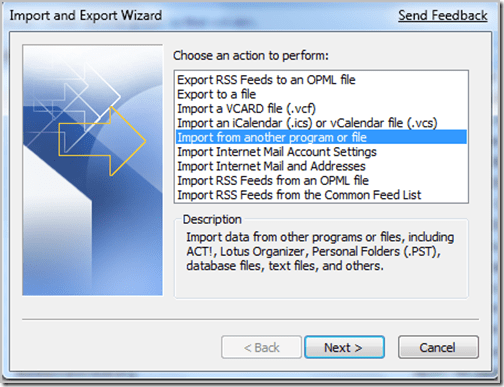 Import from a program or file