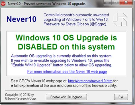 disable Windows 10 upgrade