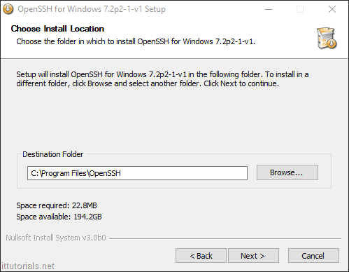 choose install location open ssh