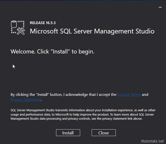 Microsoft SQL Server Management Studio Installation