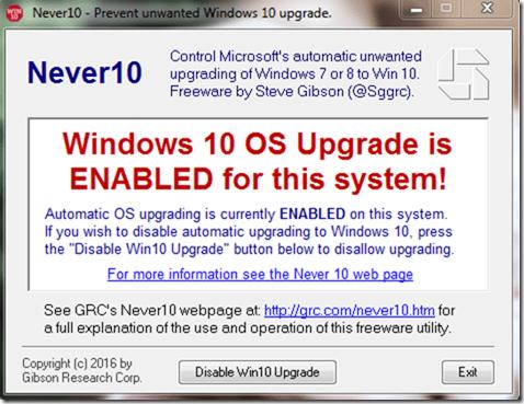 Windows 10 upgrade enabled