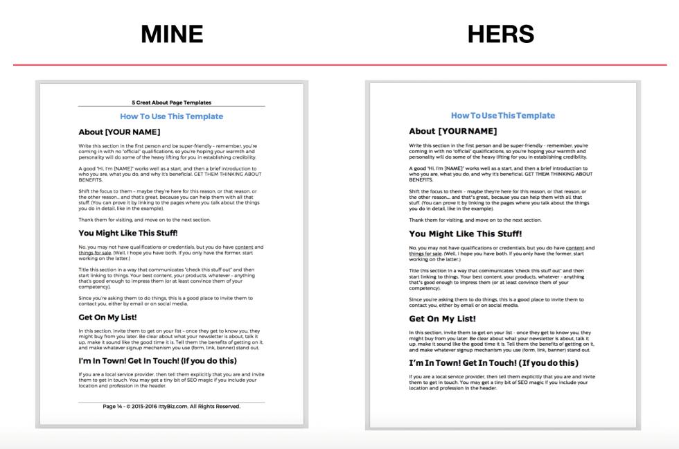 Mine vs. Hers