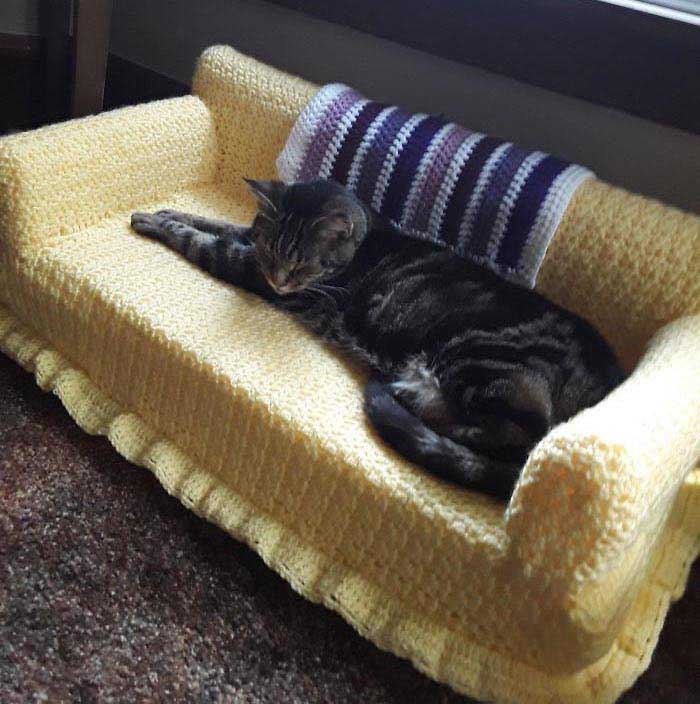 a tabby cat sleeps on a yellow crochet cat couch