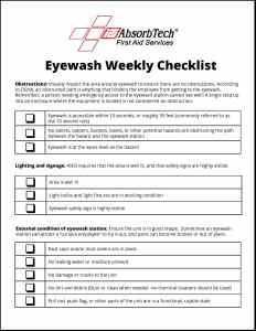 Eyewash Weekly Maintenance Station Checklist