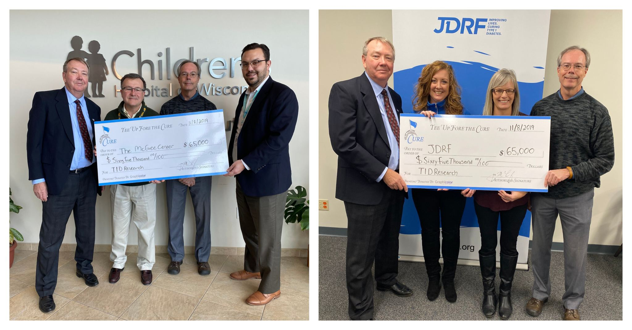 Jim and David Leef from Tee Up Fore the Cure presents fundraising checks to JDRF and Children's Hospital Max McGee Center at Children's Hospital