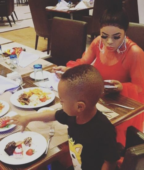 Bobrisky Has Dinner With King Andre, Tonto Dikeh's Son