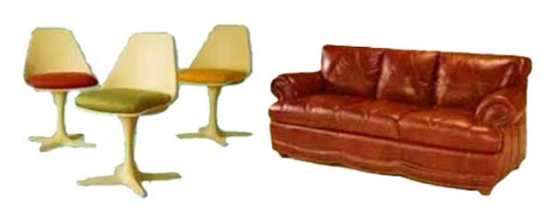 Swivel Chair and Leather Couch