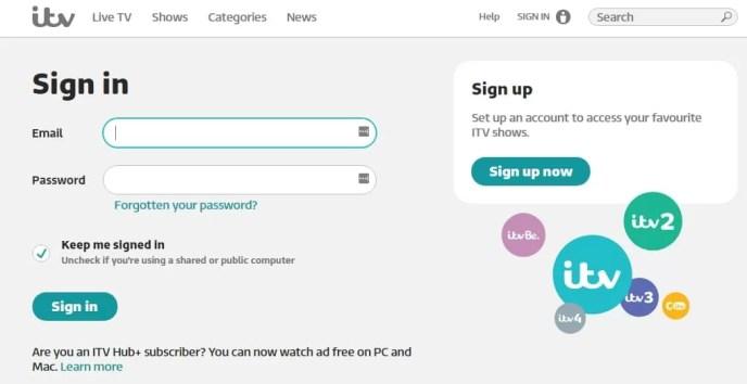 register for ITV