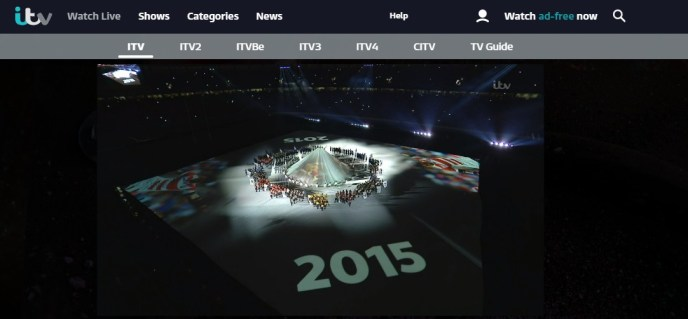Watching the opening ceremony for the Rugby World Cup 2019 on ITV abroad.