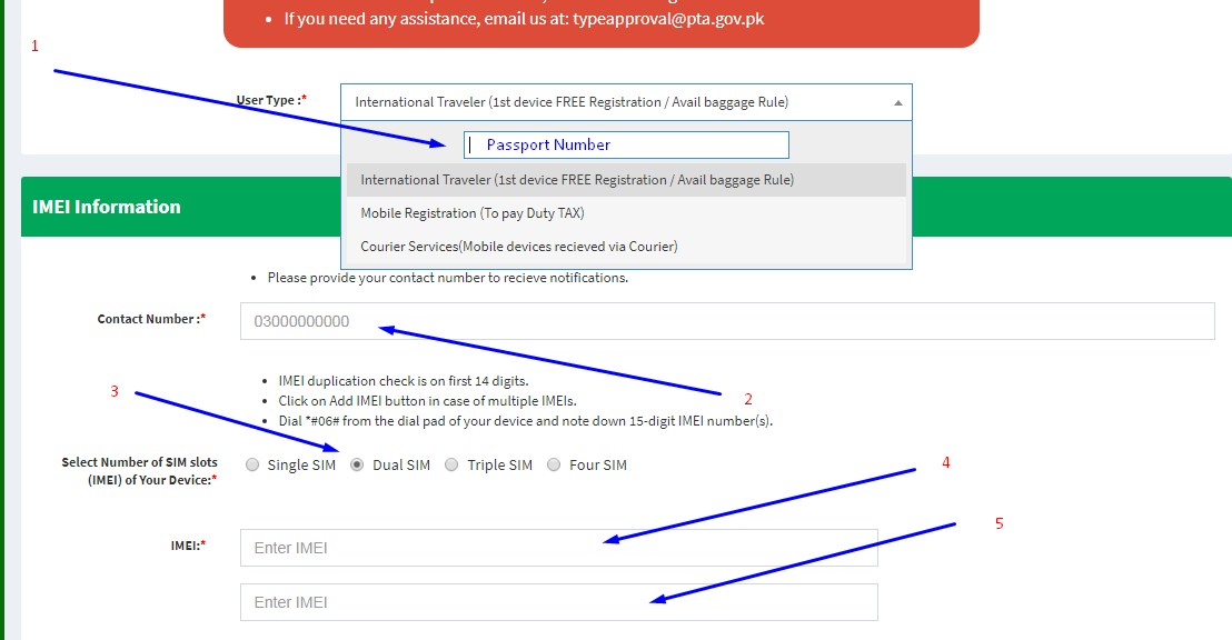 PTA Device registration system