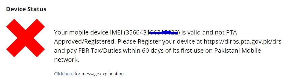 your device is not register on PTA