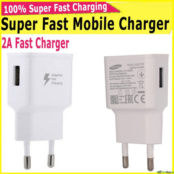 100% Super Fast Mobile Charger - 2A Fast Mobile Battery Charger - Fast Charger Online Pakistan - Supports all android phones