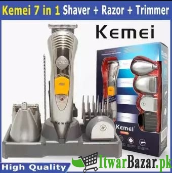 High Quality 7 in 1 Kemei Trimmer + Shaver + Razor - Professional Electric Shaver for men - Best for nose, ear & beard trimmer