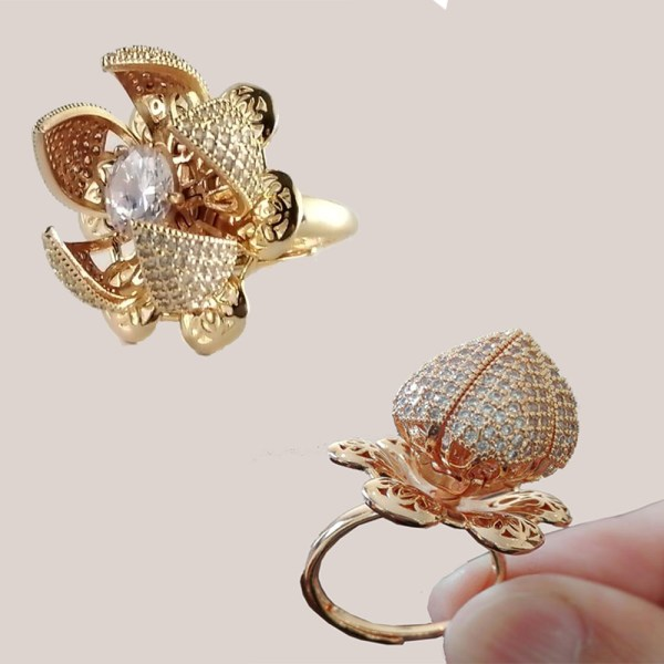 Adjustable Flower Style Gold Plated Bloom Ring For Girls & Women JR39 - 5B00L