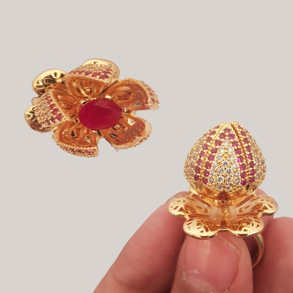 Adjustable Flower Style Gold Plated Bloom Ring For Girls & Women JR39 - 6X00L