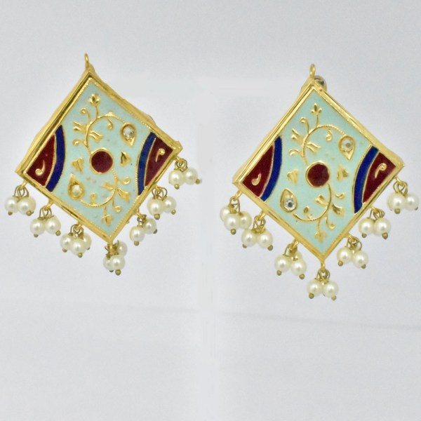 Meenakari Rhombus Style Sky Blue Shining Earrings JAR14 - CV1O00