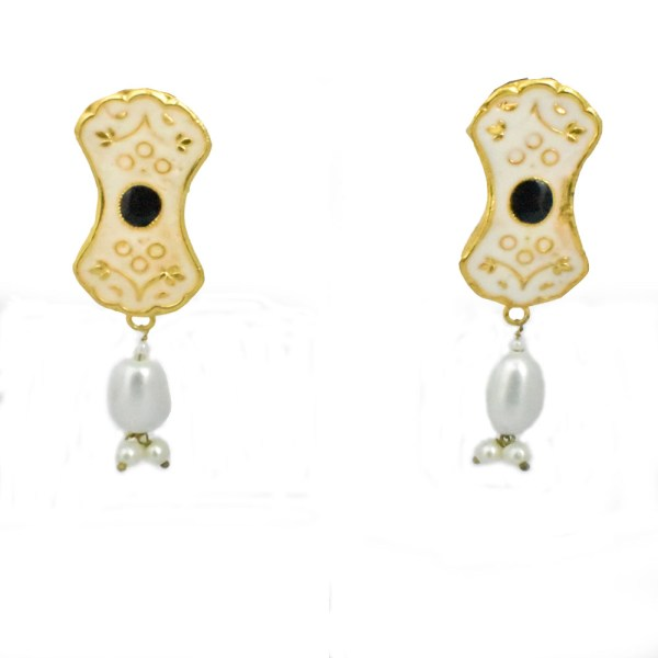 Meenakari Beautiful Design White Shining Earrings JAR7 - F8J0O