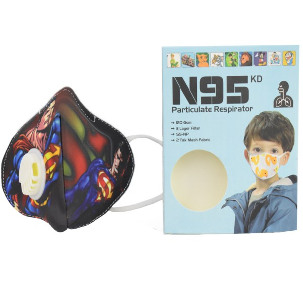 8 to 16 Years Super Man Cartoon Charactor N95 Mask for boys & Girls Fm4