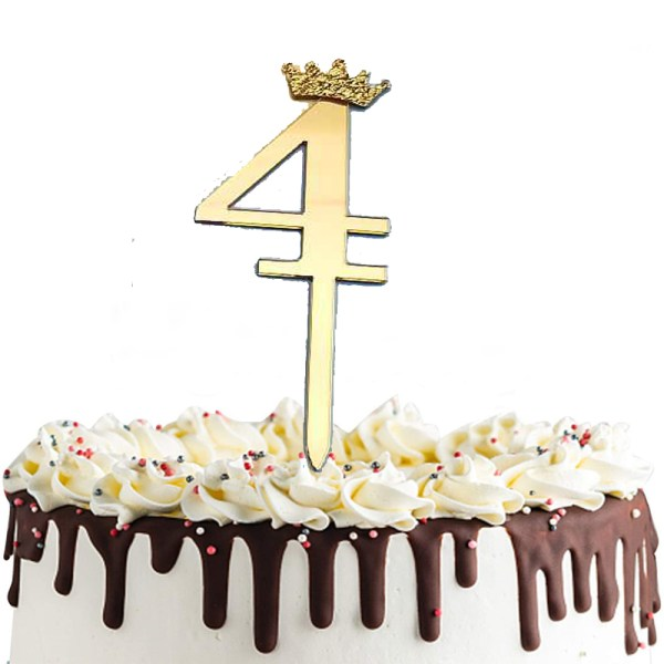 Gold Number 4 Taj Style Birthday Cake Topper 'FO08