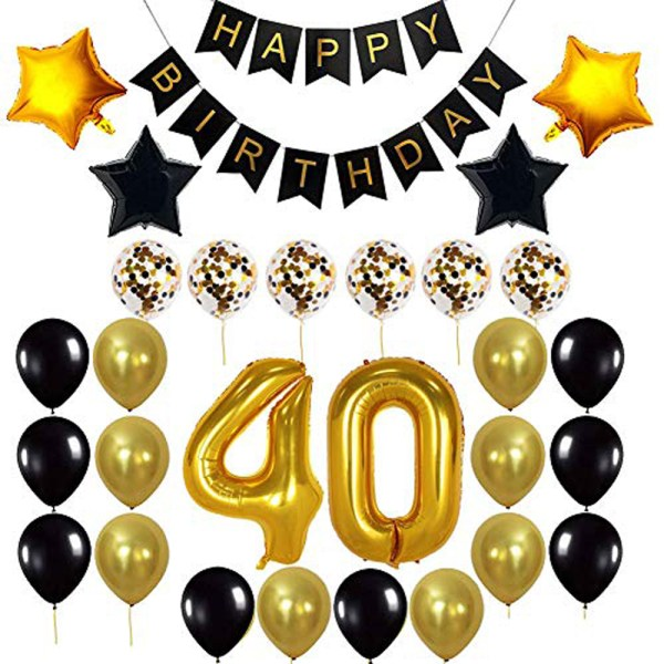 Birthday Party Package: 8 Golden & Black Latex Balloons, 6 White Confetti Balloons, 2 Golden & Black Star Foil Balloons, 1 happy birthday banner,40th birthday Foil Balloon